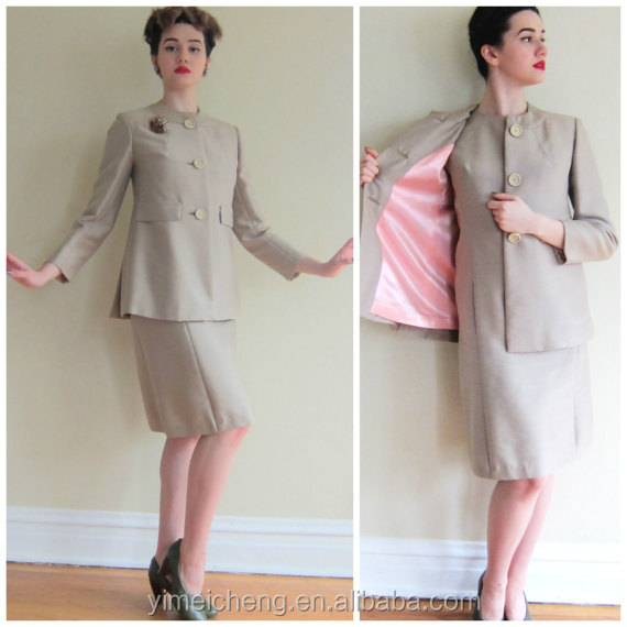 Glamorous champagne color hight waist ladies latest office uniform design fancy Suits for office wear