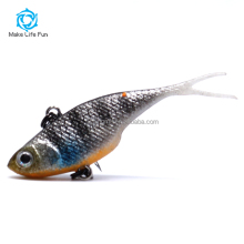 MSF05004 Wholesale 55mm 5.5g fishing GENE Super Stretched Fork Tails Soft Vibe