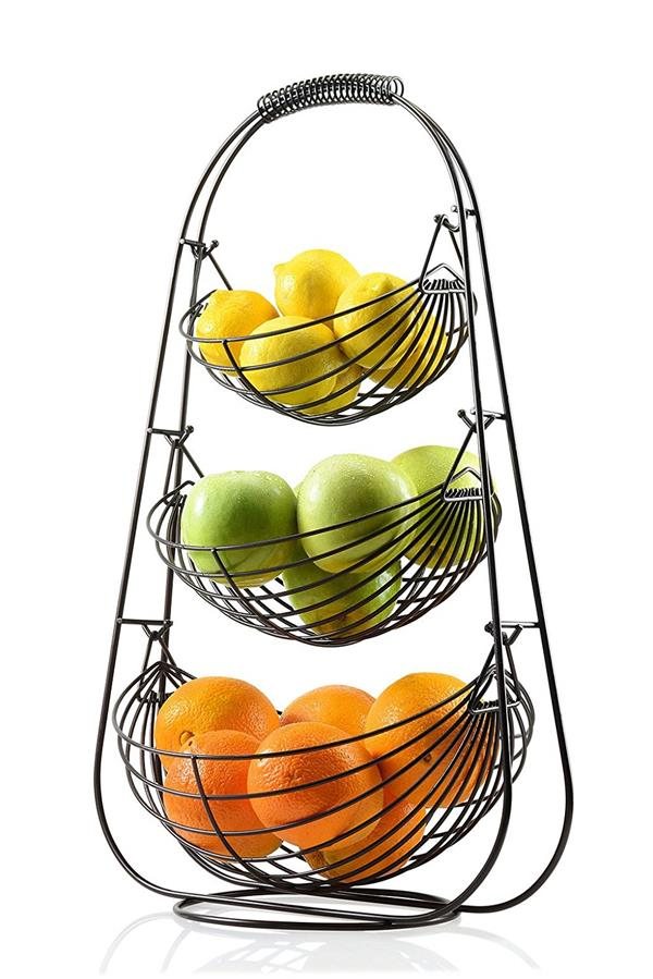 Buy Factory Price Black Wire Metal Hanging Style 3 Tier Fruit Basket Stand