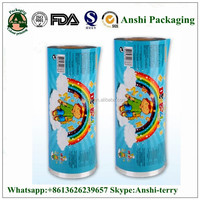 Custom printing laminated food grade plastic film roll for candy/chocolate/snack/chips packaging