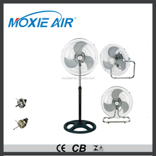 "18"" black round base iron balde industrial exhaust fan 3 in 1"