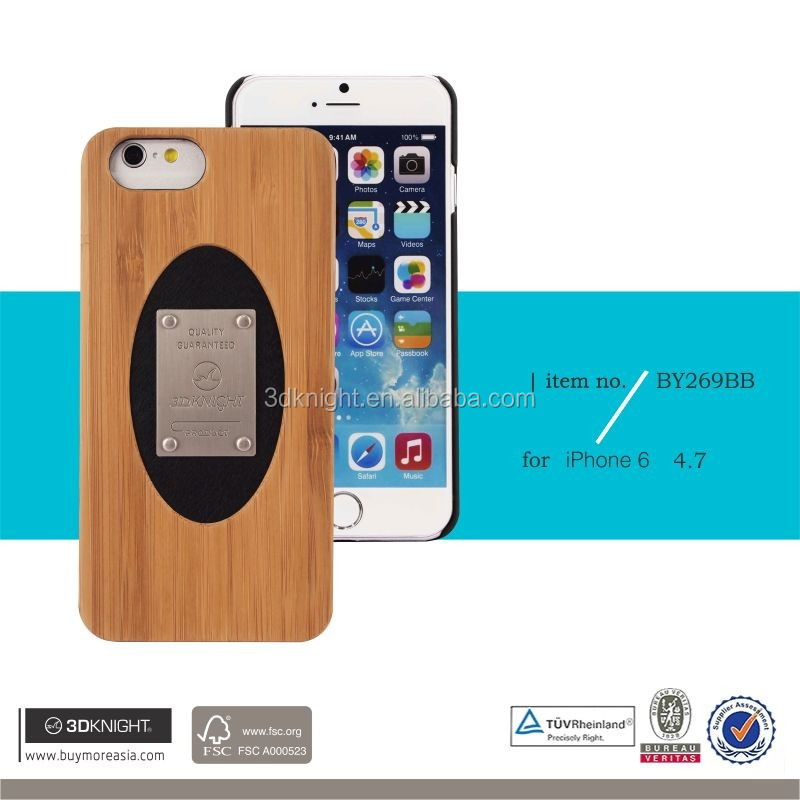 3D Knight Ultra-thin PC Back PC Side Case for iPhone 6, Bamboo Metal Clear Phone Cover for iphone 6s