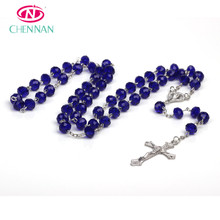 Facted Crystal Glass Rosary Beads Color Blue Catholic Necklace Hot Sale China Rondelle Glass Bead Christian Gift