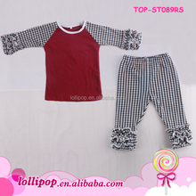 Wholesale Children's Boutique Clothing Houndstooth Ruffle Raglan Shirts And Icing Pants Baby Girl Baseball Outfit