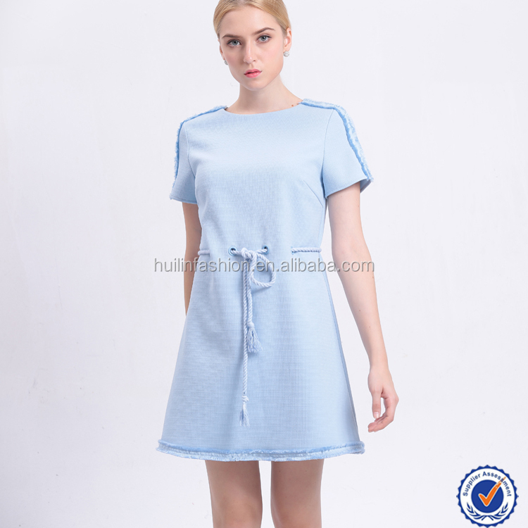 clothing manufacture solid blue short sleeve women dress sashes sexy cocktail dress online shopping