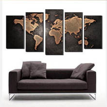 5 Pcs/Set Modern Abstract World Map Wall Art Painting World Map giclee canvas print Painting for Living Room Home Decor <strong>Picture</strong>