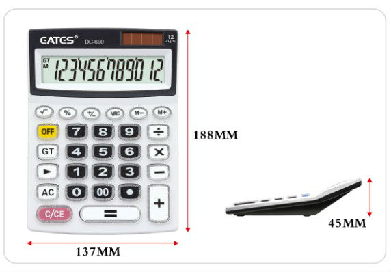 12 digits dual power counter calculator