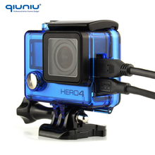 QIUNIU Camera Transparent Blue Standard Skeleton Side Open Protective Case Shell Housing For Gopro Hero 4 3