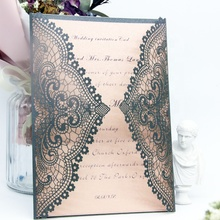 Elegant Lace Laser Cut wedding Invitation Card Bud silk Greeting Card