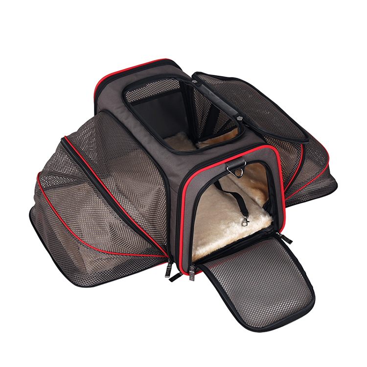 Extendable pet carrier airline approved bag for cat