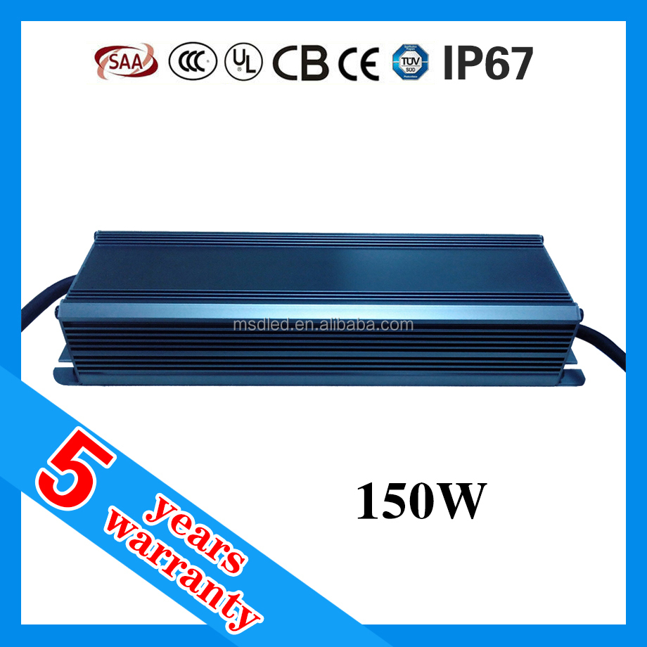 5 years warranty CE ROHS TUV SAA passed IP67 24v 150w waterproof led driver
