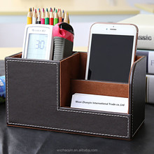 Hot Selling High Quality Fancy Desk Leather Pen Holder Container
