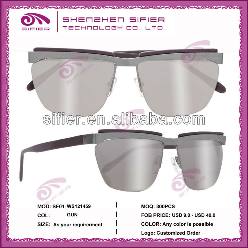 High Quality Half Frame With Wood Temple Titanium Sunglasses