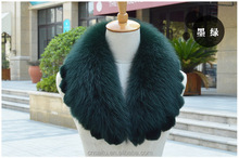 Factory wholesale real fox fur collar with rex rabbit fur trimmings detachable fox fur coat accessories