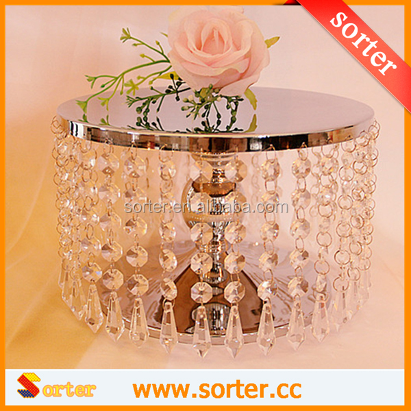Wholesale top quality crystal cake stand with clear crystal beads