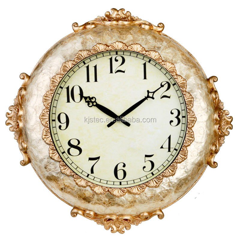 high quality soft shell antique large glass gold vintage resin clock