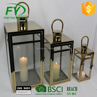 ML-2072 set of 3 Home and garden decoration stainless steel lantern with glass panels and brass color