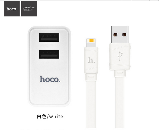 HOCO C6 Double USB Charger Set for Micro USB charging folding X5 charge cable wire L=1.0M flame retardant wall charger adaptor