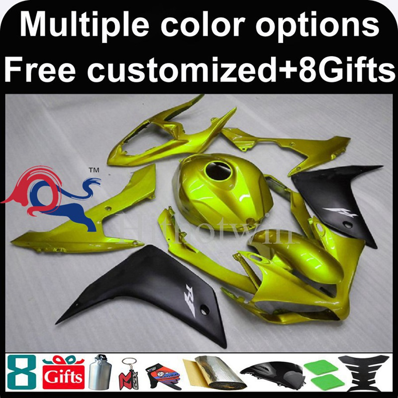 yellow motorcycle cowl for Yamaha YZF-<strong>R1</strong> 2007-<strong>2008</strong> 07 08 YZFR1 2007 <strong>2008</strong> 07-08 ABS Plastic <strong>Fairing</strong>