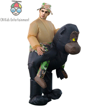 Giant inflatable rides on Gorillas mascot costume for funny