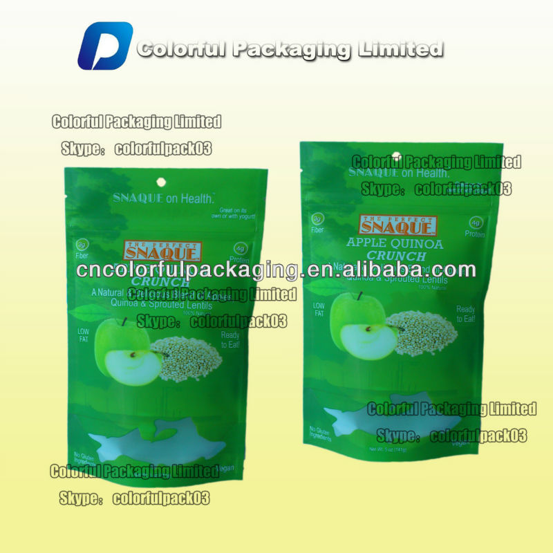 Stand up zipper bags for lentils with window&euro hole/SNAQUE plastic bag with window&euro hole