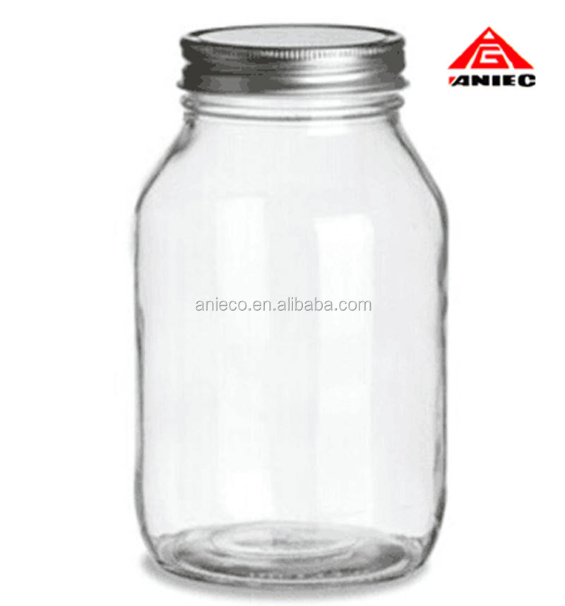 Food Grade 1000ml Glass Canning Jar with Metal Lid For Sale