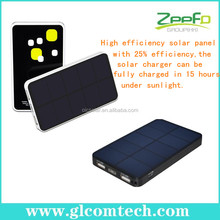 High conversion efficiency patent RoHS,CE,FCC multifunctional charger solar flashlight for iPad