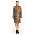 QD70762 Lady Winter Long Genuine Natural Chinese Mink Coat with Drawstring Waist