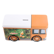 Best Popular collector's tins, travel bus shape tin box with wheel