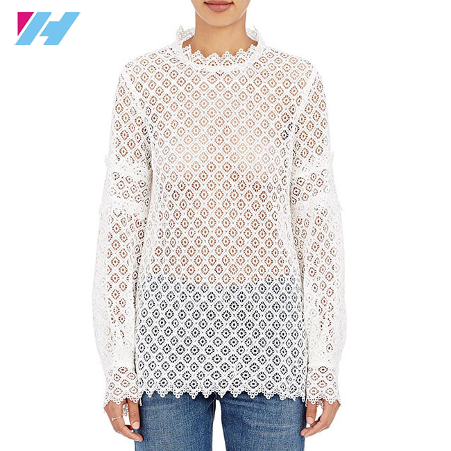 Yihao 2016 women new fashion summer style blusa white cotton elegant Geometric Lace Blouse
