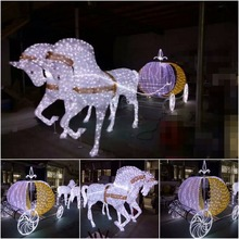 LED Lighted ABS Motif Lighted Cinderella Horse Carriage for Christmas Wedding Decoration