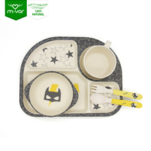 Food with FDA disposable bamboo fiber kids dinnerware set