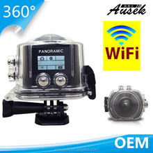 360 panoview degree fisheye wireless wifi action camera 2448p HD 16MP underwater 30M for surveillance
