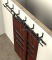 6.6FT classic black hardware bypass sliding barn wood cloest door