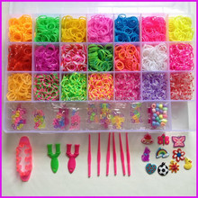 Wholesale kid's diy loom rubber bands 4200pcs/box loom bands