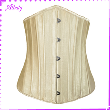 In Stock Items Latex Women Slim 26 Steel Bones Nude waist trainer shapers corset