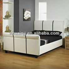White home furniture wooden leather sleigh bed
