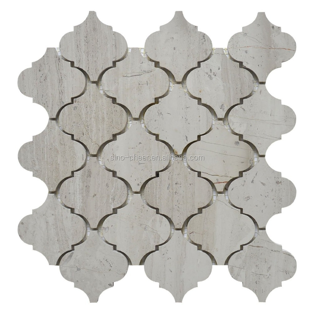wood-grain white lantern shaped Marble Polished backsplash arabesque mosaic tile