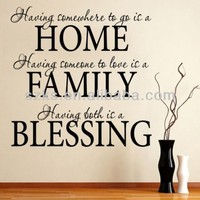 Home Family Blessing Wall Quote - Wall Decal Sticker Graphic