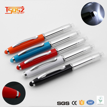 promotional 3 in 1 metal pen with LED light and touch function ball point pen