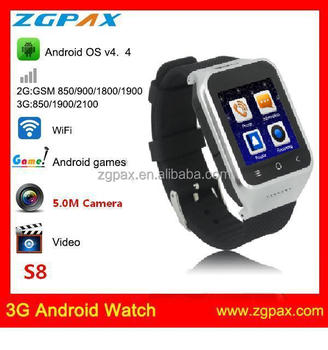 2014 new products! android hand watch 5.0M Camera Wifi GPS Android 4.4 GSM Smart Watch phone Bluetooth 4.0 S8 ZGPAX
