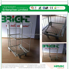 Mesh box wire cage metal bin storage container with shelves
