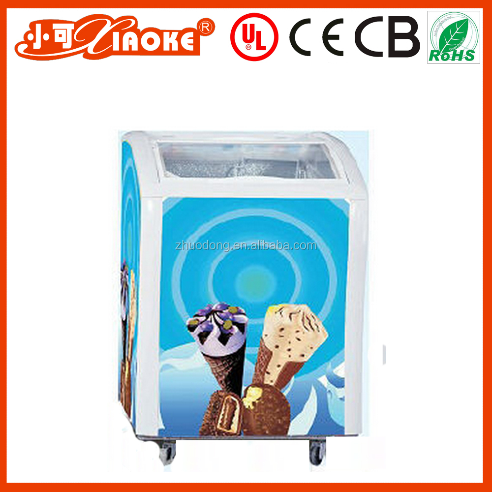 144L Curved Glass and Manual Defrost ice cream chest freezer