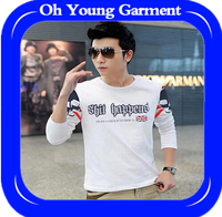 Well printing long sleeve South Korean style t-shirt for men
