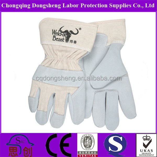 AB Grade light blue Cow Leather Working Glove/Guantes De Cuero for logistics