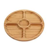 Bamboo round serving platter, 5-sectional coffee tea breakfast serving tray large divided tray