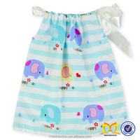 Cute Baby Elephant Printing Dress Girls Cotton Frock Designs Dress Softtextile Baby Dress Pictures