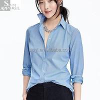 Women Apparel Lady Light Blue Fashion Shirt Woman Long Sleeves Cotton Shirt&Blouse Clothing Lady wear