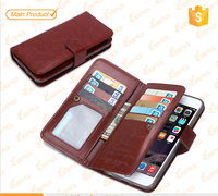Mobile Phone Accessories Wallet Leather Case Cover For iPhone 6, Geniune Leather TPU Case with 9 Card Slots