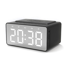 Wireless Charging Alarm Clock FM Radio <strong>Bluetooths</strong> Speaker with Microphone